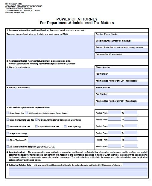 Free Colorado Tax Power Of Attorney Form